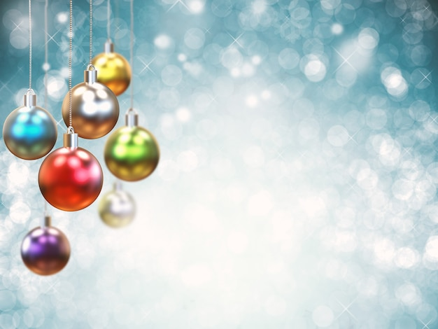 Boule de noël colorée de rendu 3d pour la décoration