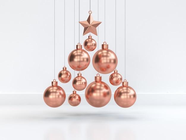 Boule de noël en cuivre flottant minimal abstraite scène blanche noël nouvel an vacances hiver concept 3d rendu