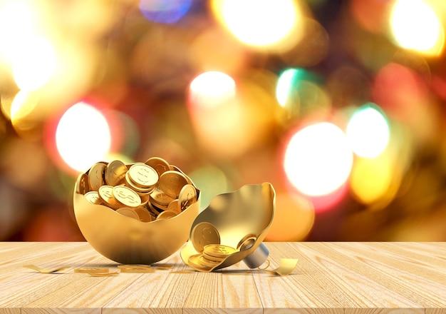 Boule de noël dorée cassée avec des pièces sur les lumières floues