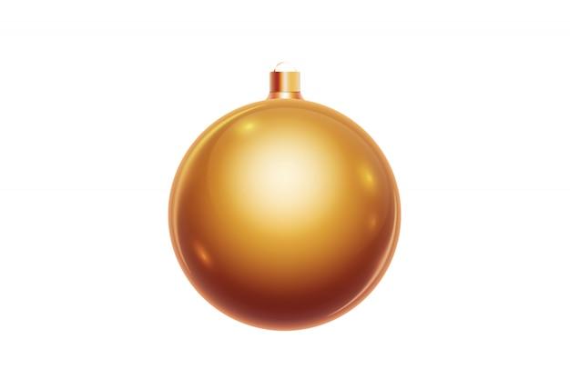 Boule de noël dorée isolée sur fond blanc. décorations de noël, ornements sur le sapin de noël.