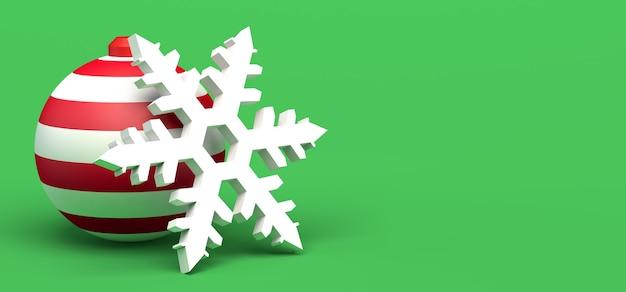 Boule de noël avec flocon de neige. espace de copie. illustration 3d.