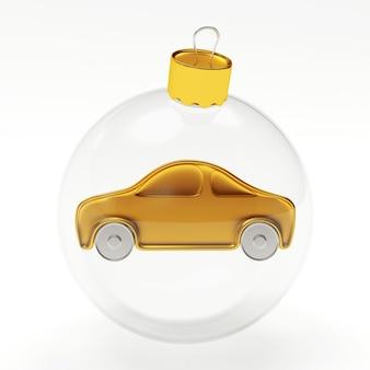 Boule de noël transparente avec icône de voiture à l'intérieur