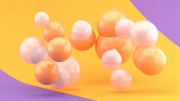 Boule orange et boule transparente flottant sur violet et orange. rendu 3d.