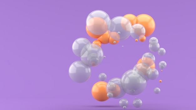 Boule orange et boule transparente flottant sur le violet. rendu 3d.