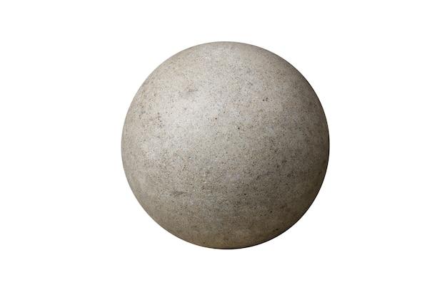 Boule de pierre grise isolée sur fond blanc. photo de haute qualité