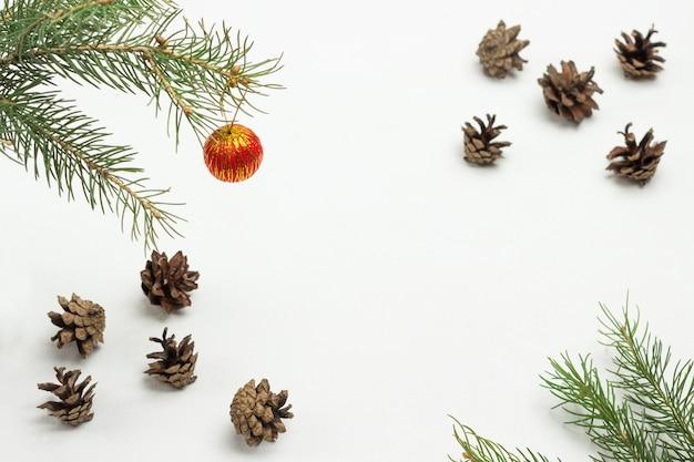 Boule rouge sur une branche de sapin. cônes et branches de sapin sur fond blanc. mise à plat