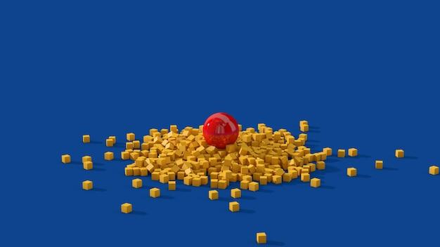 Boule rouge et cubes jaunes. illustration abstraite, rendu 3d.