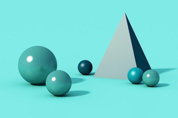 Boule de sphère bleue sur fond bleu. rendu 3d