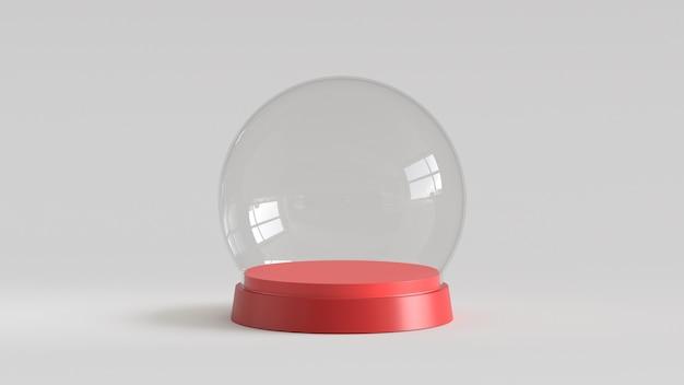 Boule de verre vide avec plateau rouge sur fond blanc. rendu 3d.