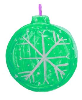 Boule verte de noël doodle mignon, décoration d'arbre de noël, dessin à l'aquarelle pour enfants.