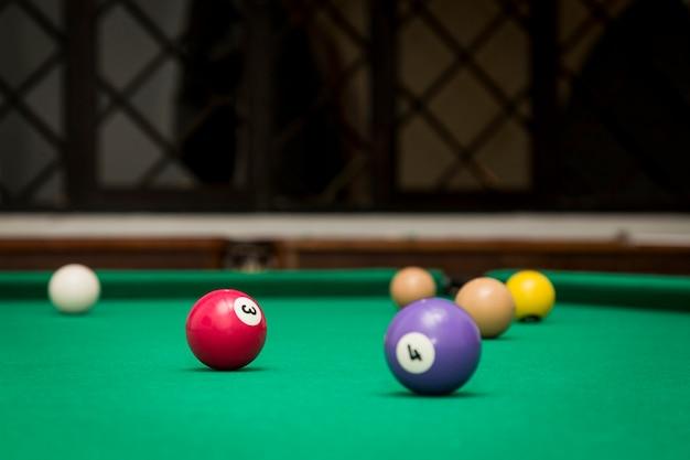 Boules de billard dans une table de billard.