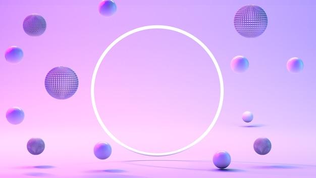 Boules bleues, bulles bleues sur fond rose.
