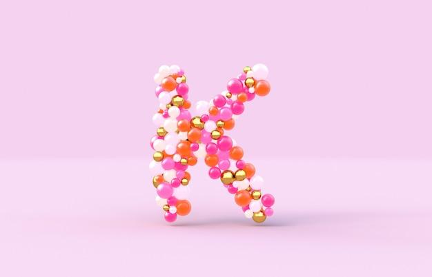 Boules de bonbons doux lettre k