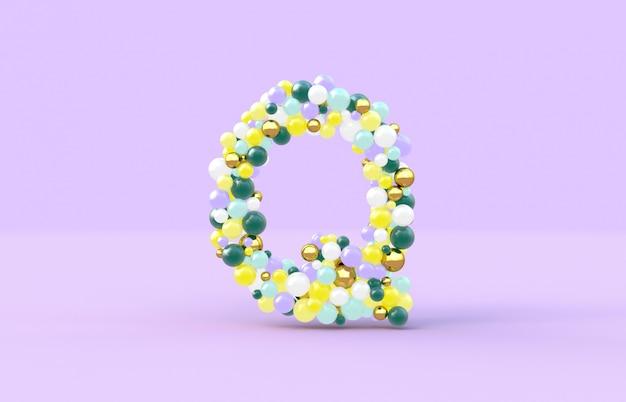 Boules de bonbons doux lettre q