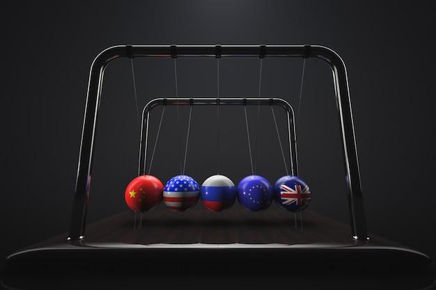 Les boules du berceau de newton avec les drapeaux de la grande-bretagne, de l'union européenne, de la russie, des états-unis et de la chine sur eux