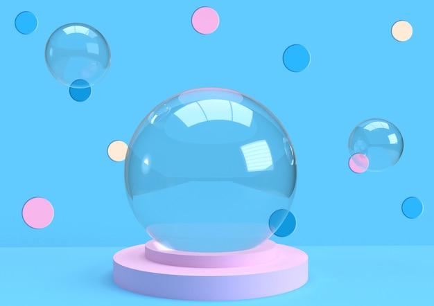 Boules de globe en verre rendu 3d avec pois sur fond bleu