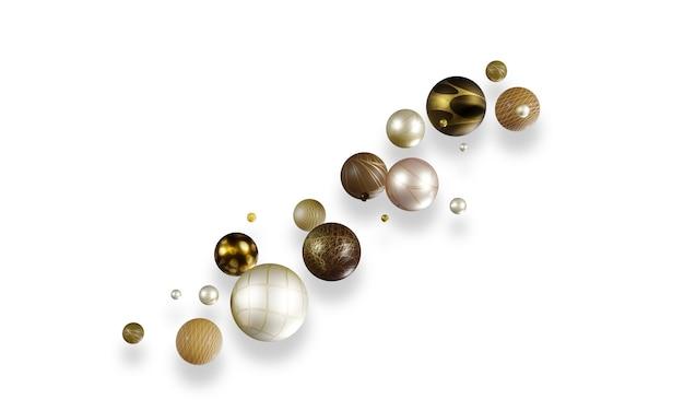 Boules multicolores, sphères colorées 3d sur fond blanc propre et élégant