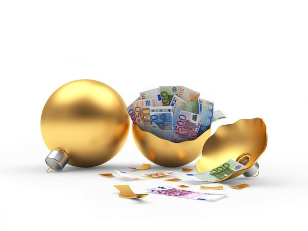 Boules de noël dorées entières et cassées avec des billets en euros