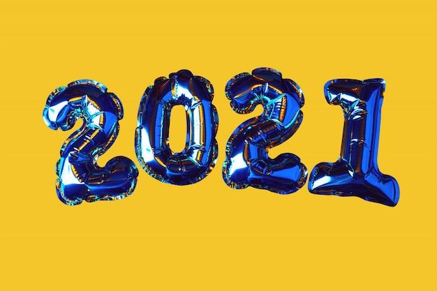 Boules de noël d'or 2021. concept de nouvel an.