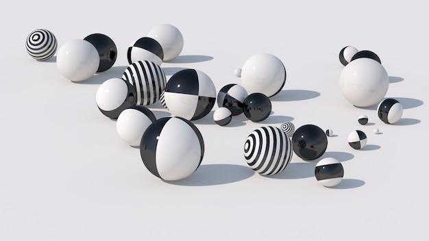 Boules rayées noires et blanches. illustration abstraite, rendu 3d.
