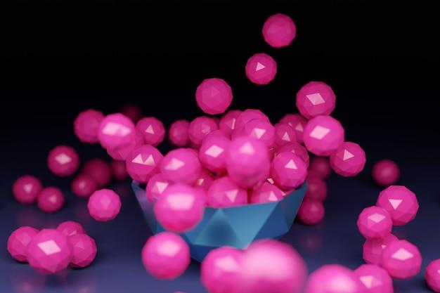 Boules roses avec de nombreux visages dispersés dans des directions différentes