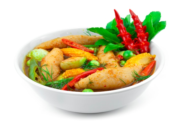 Boulettes de poisson soupe printanière au curry rouge épicé aux herbes thai foodc style local décorer avec du chili et des légumes à découper sideview
