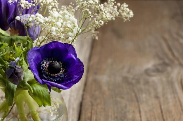 Bouquet D'anémones Bleues Photo Premium