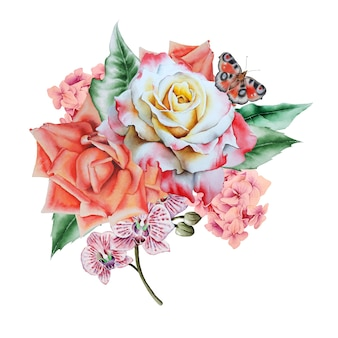 Bouquet d'aquarelle avec des fleurs et des feuilles. illustration. dessiné à la main.