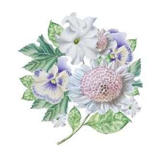 Bouquet d'aquarelle avec des fleurs