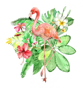 Bouquet aquarelle tropical
