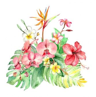 Bouquet aquarelle tropical