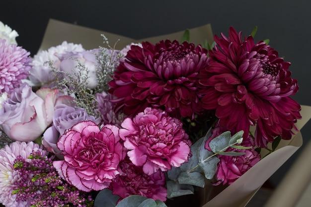 Bouquet aux tons rose et violet