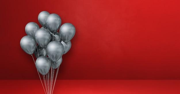 Bouquet de ballons d'argent sur un fond de mur rouge. rendu d'illustration 3d