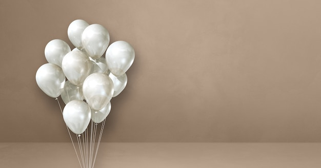 Bouquet de ballons blancs sur un fond de mur beige. bannière horizontale. rendu d'illustration 3d