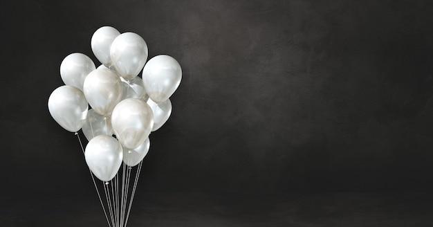 Bouquet de ballons blancs sur une surface noire