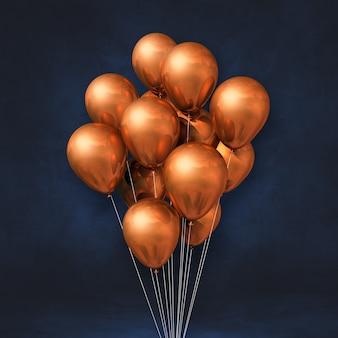 Bouquet de ballons en cuivre sur un mur noir. rendu d'illustration 3d