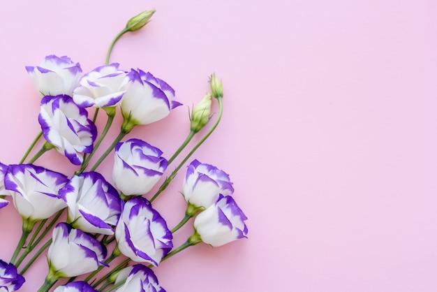 Un bouquet de bel eustoma violet fraîchement coupé sur un fond d'une tonne. fond avec de belles couleurs