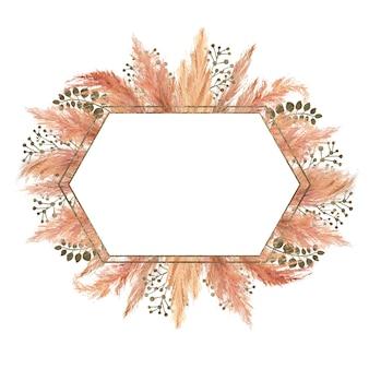 Bouquet de boho aquarelle avec herbe de pampa séchée et cadre géométrique argenté sur isolé sur fond blanc. illustration de fleur pour la conception de mariage ou de vacances d'invitations, de cartes postales, d'impression