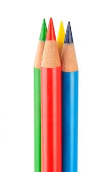 Bouquet de crayons multicolores isolé sur blanc