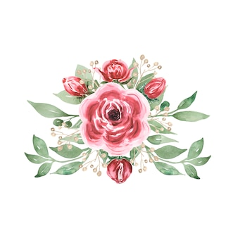 Bouquet d'été aquarelle bordeaux