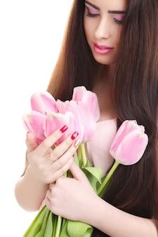 Bouquet de femme avec tulipe