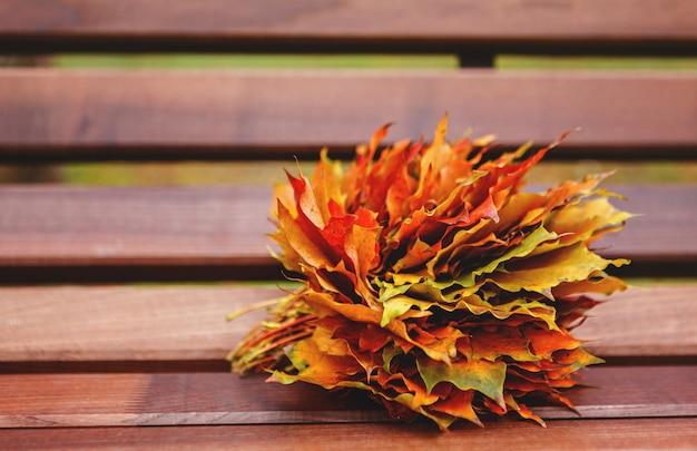 Bouquet de feuilles d'érable sur un banc.