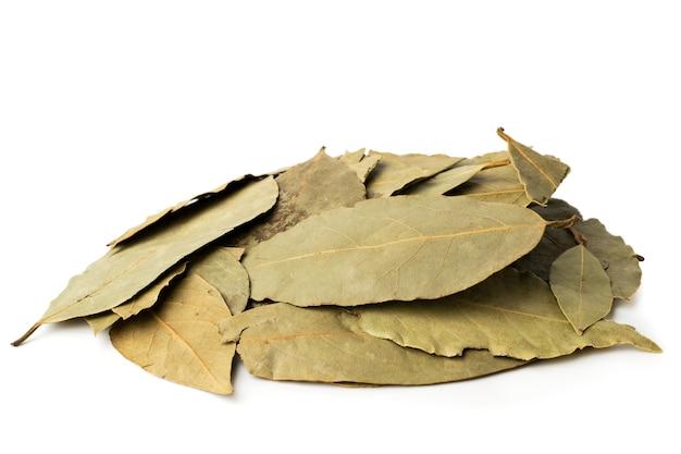Bouquet de feuilles de laurier séchées sur blanc, isolé