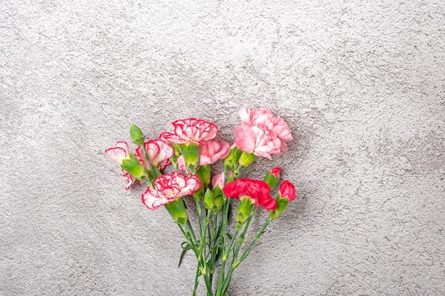 Bouquet de fleur d'oeillet rose sur fond de béton gris vue de dessus mise à plat