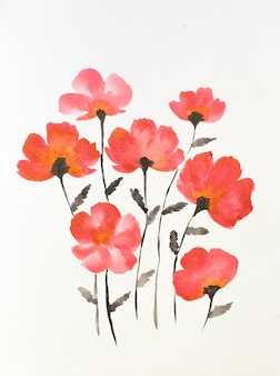 Un bouquet de fleurs dans un vase peint à l'aquarelle.