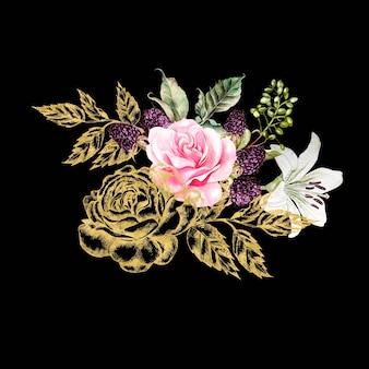 Bouquet avec des fleurs graphiques et aquarelles dorées. rose, lys et baies. illustration