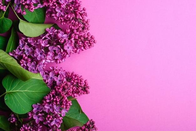 Bouquet de fleurs lilas avec des feuilles sur fond violet minimal, vue de dessus copie espace