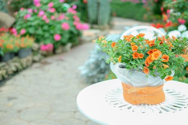 Bouquet de fleurs orange sur table en métal dans le parc de jardin fleuri