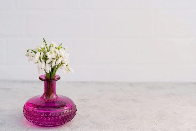 Bouquet de fleurs printanières de perce-neige dans un vase en verre de couleur fuchsia
