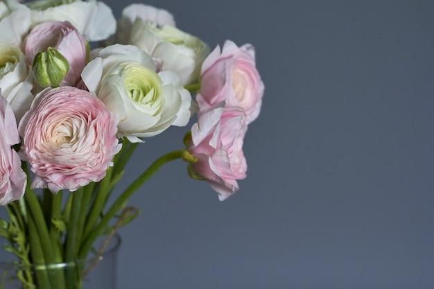 Bouquet de fleurs de printemps. fleurs de renoncule rose et blanc isolés. beau bouquet de renoncule.